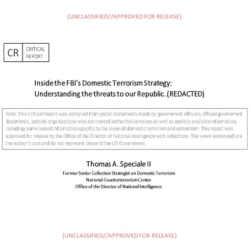 Inside the FBI's Domestic Terrorism Strategy, Thomas Speciale