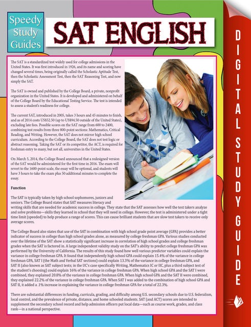 SAT English (Speedy Study Guide), Speedy Publishing