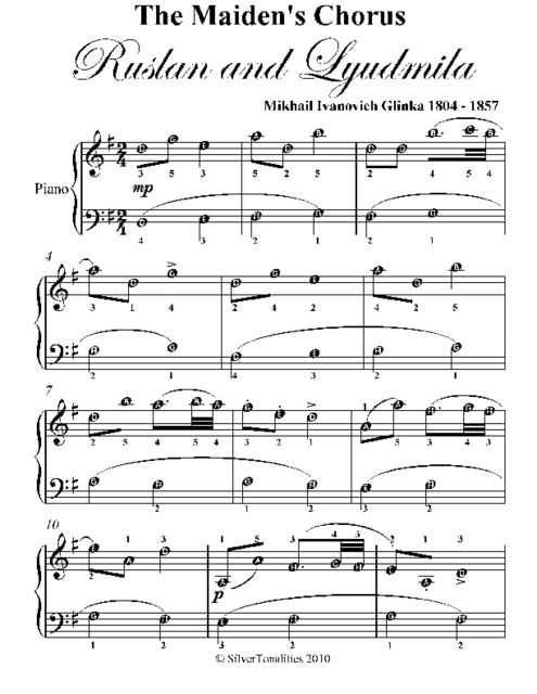 Maiden's Chorus Ruslan and Lyudmila Easy Piano Sheet Music, Mikhail Ivanovich Glinka