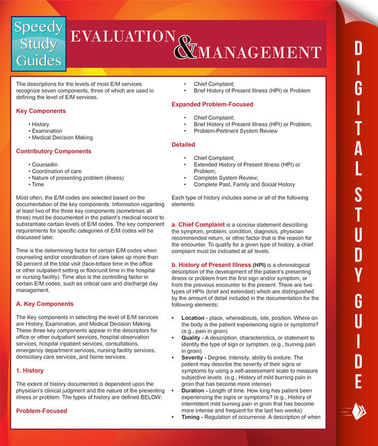 Evaluation And Management (Speedy Study Guides), Speedy Publishing