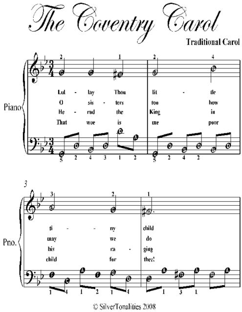 Coventry Carol Easy Piano Sheet Music With Alberti Styled Bass, Traditional Carol