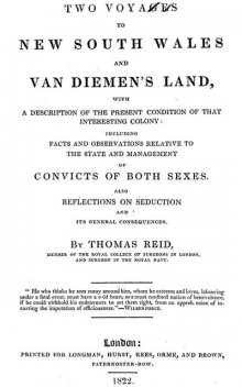 Two Voyages to New South Wales and Van Diemen's Land, Thomas Reid