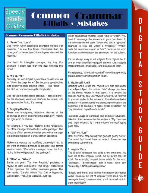 Common Grammar Pitfalls & Mistakes (Speedy Study Guides), Speedy Publishing
