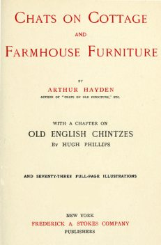 Chats on Cottage and Farmhouse Furniture, Arthur Hayden