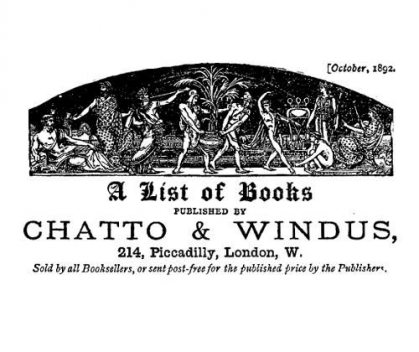 A list of books published by Chatto and Windus, October 1892, Windus Chatto