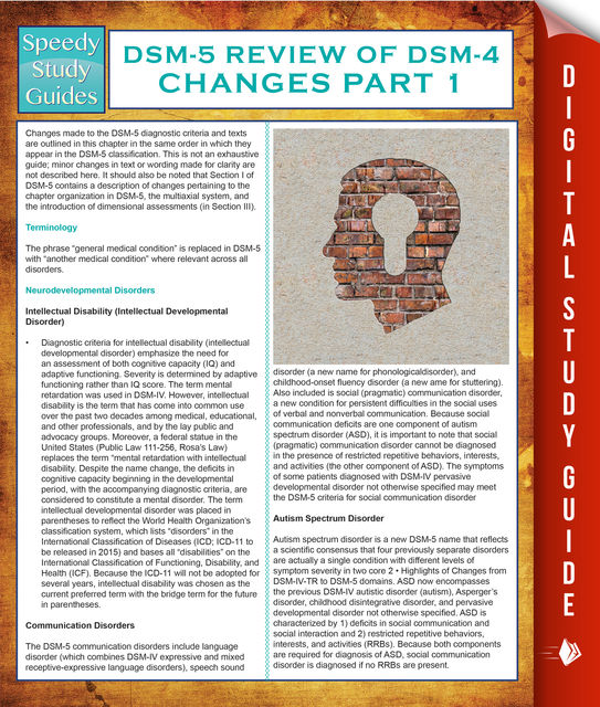 DSM-5 Review of DSM-4 Changes Part I (Speedy Study Guides), Speedy Publishing