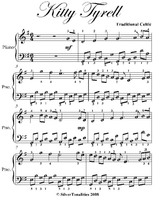 Kitty Tyrell Easy Piano Sheet Music, Traditional Celtic