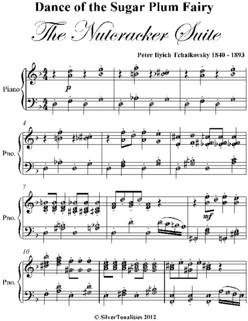 Dance of the Sugar Plum Fairy the Nutcracker Suite Elementary Piano Sheet Music, Peter Ilyich Tchaikovsky