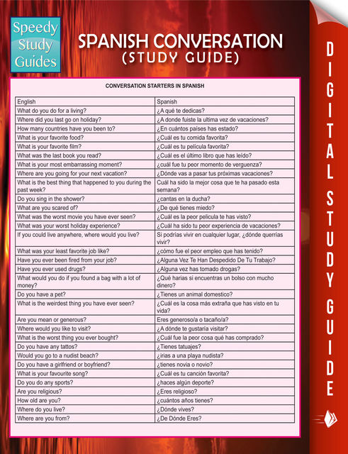 Spanish Conversation (Speedy Language Study Guide), Speedy Publishing