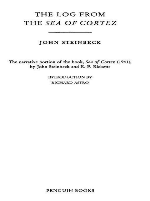 The Log from the Sea of Cortez, John Steinbeck