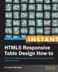 Instant HTML5 Responsive Table Design How-to, Fernando Monteiro