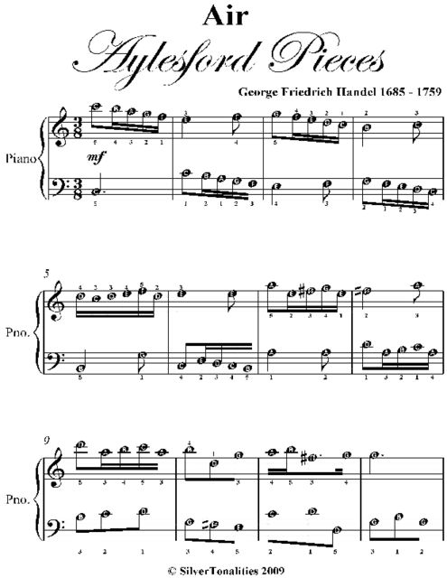 Air Aylesford Pieces Easy Piano Sheet Music, George Friedrich Handel