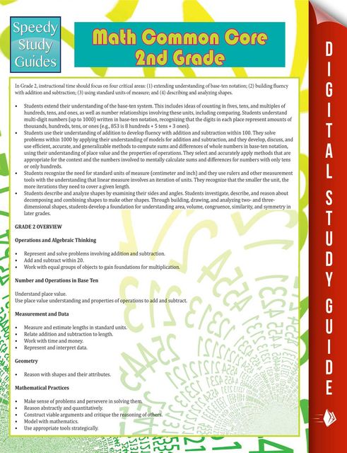 Math Common Core 2nd Grade (Speedy Study Guide), Speedy Publishing
