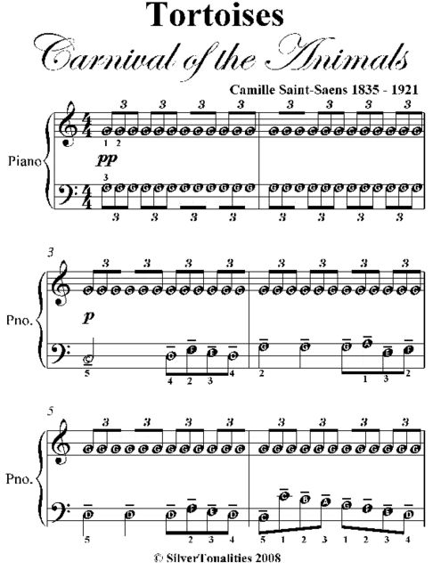 Tortoises Carnival of the Animals Easy Piano Sheet Music, Camille Saint-Saëns
