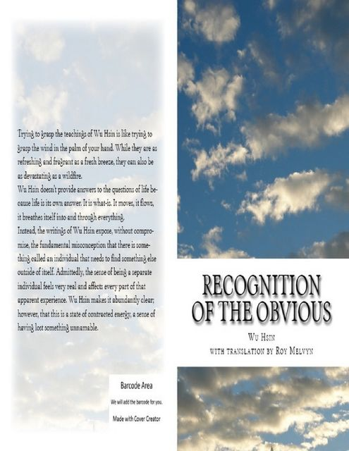 Recognition of the Obvious, Roy Melvyn, Wu Hsin