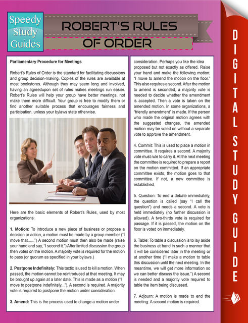 Robert's Rules Of Order (Speedy Study Guides), Speedy Publishing
