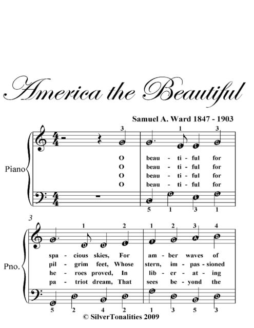 America the Beautiful Easy Piano Sheet Music, Samuel Ward