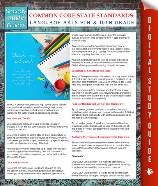 Common Core State Standards: Language Arts 9th And 10Th Grade, Speedy Publishing