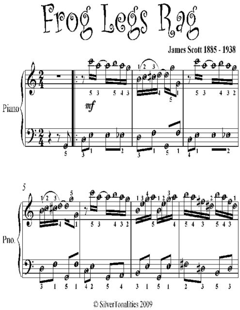 Frog Legs Rag Easy Piano Sheet Music, Scott James