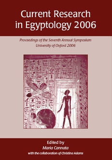 Current Research in Egyptology 2006, Maria Cannata