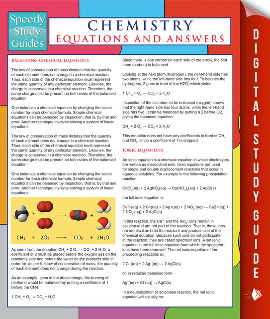 Chemistry Equations And Answers (Speedy Study Guides), Speedy Publishing