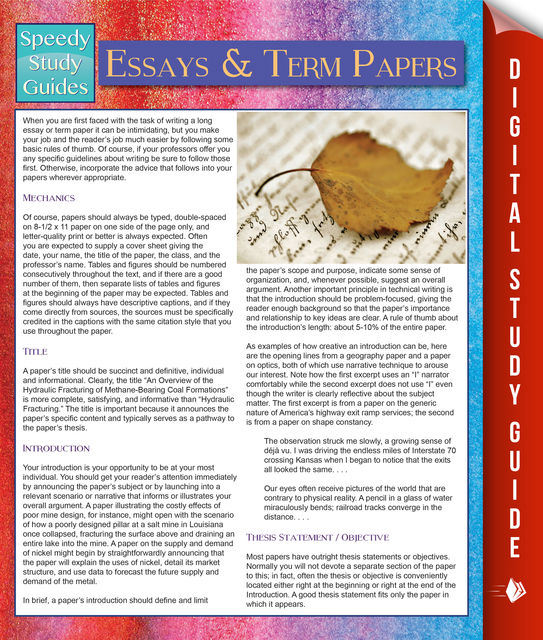 Essays And Term Papers (Speedy Study Guides), Speedy Publishing
