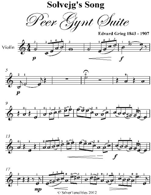 Solvejg's Song Peer Gynt Suite Easy Violin Sheet Music, Edvard Grieg