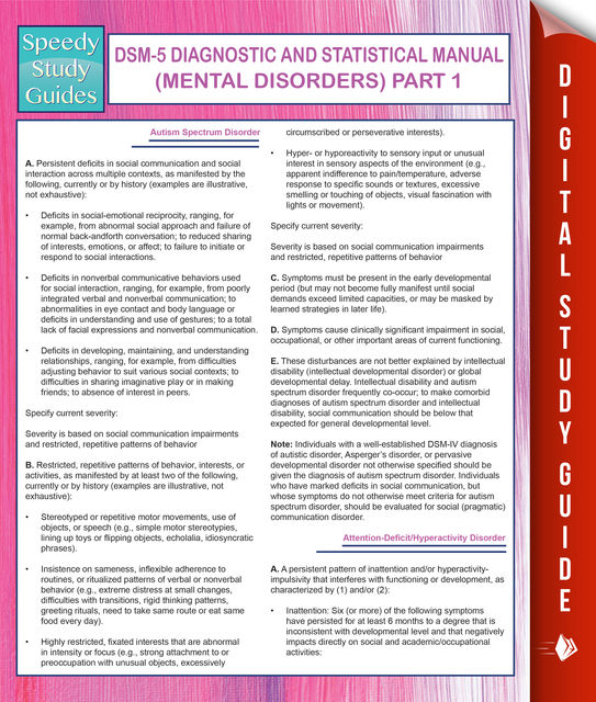 DSM-5 Diagnostic and Statistical Manual (Mental Disorders) Part 1, Speedy Publishing
