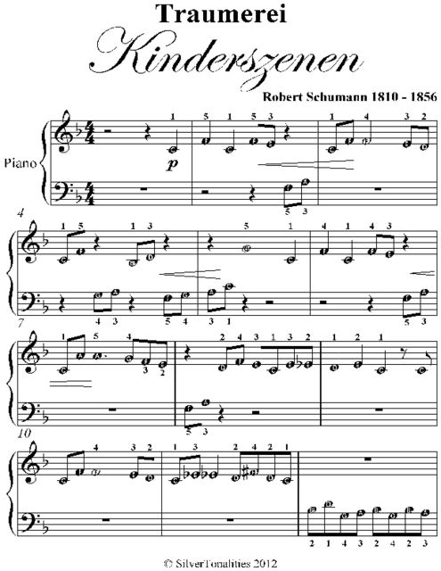 Traumerei Kinderszenen Beginner Piano Sheet Music, Robert Schumann