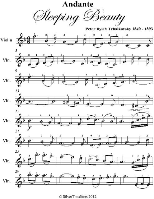 Andante Sleeping Beauty Easy Violin Sheet Music, Peter Ilyich Tchaikovsky