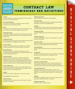 Contract Law Terminology and Definitions (Speedy Study Guide), Speedy Publishing