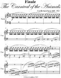 Finale Carnival of the Animals Easy Piano Sheet Music, Camille Saint Saens