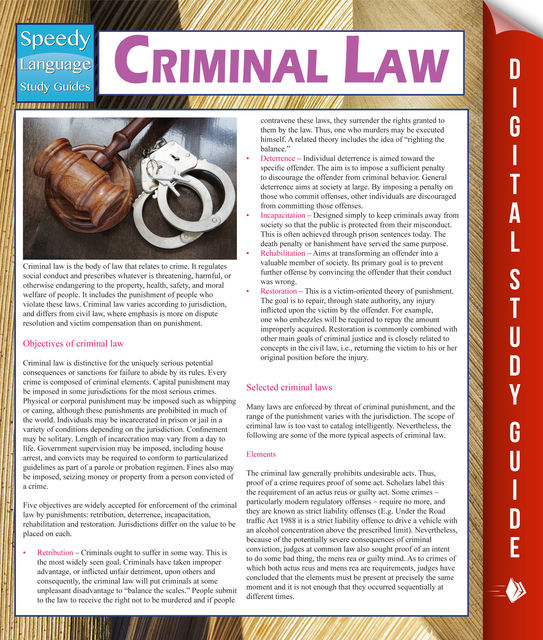 Criminal Law (Speedy Study Guides), Speedy Publishing