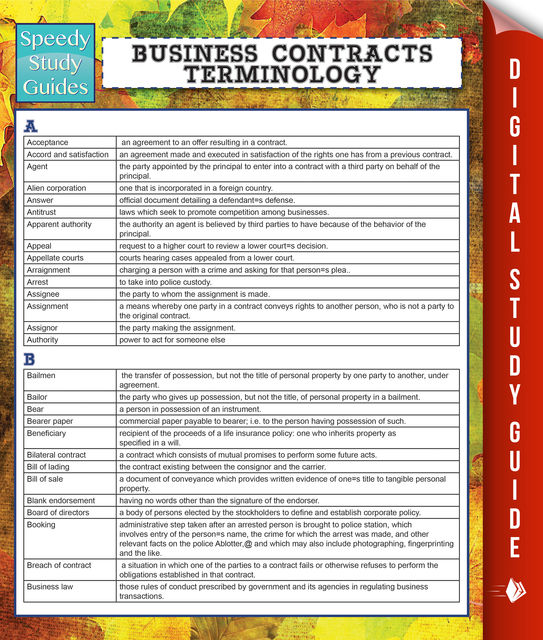 Business Contracts Terminology (Speedy Study Guide), Speedy Publishing