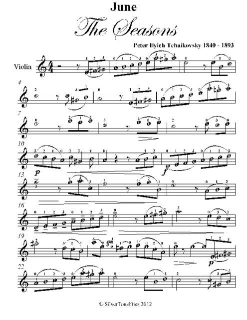 June the Seasons Easy Violin Sheet Music, Peter Ilyich Tchaikovsky