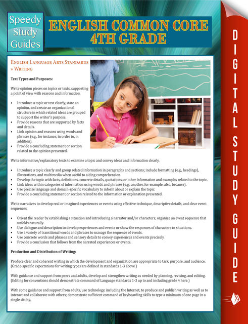 English Common Core 4th Grade (Speedy Study Guide), Speedy Publishing