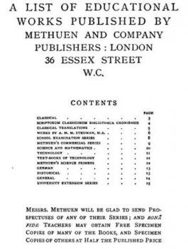 A List of Educational Works Published by Methuen & Company – June 1900, Co., Methuen
