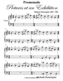 Promenade Pictures At an Exhibition Easy Piano Sheet Music, Modeste Mussorgsky