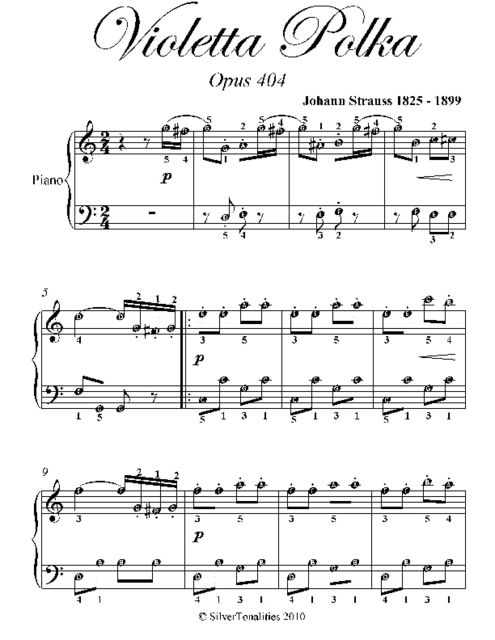 Violetta Polka Easy Piano Sheet Music, Johann Strauss