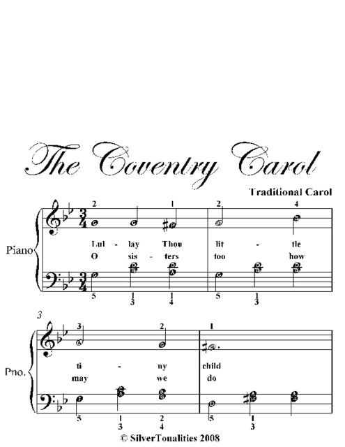 Coventry Carol Easy Piano With Broken Chord Style Bass Sheet Music, tra Gershwin