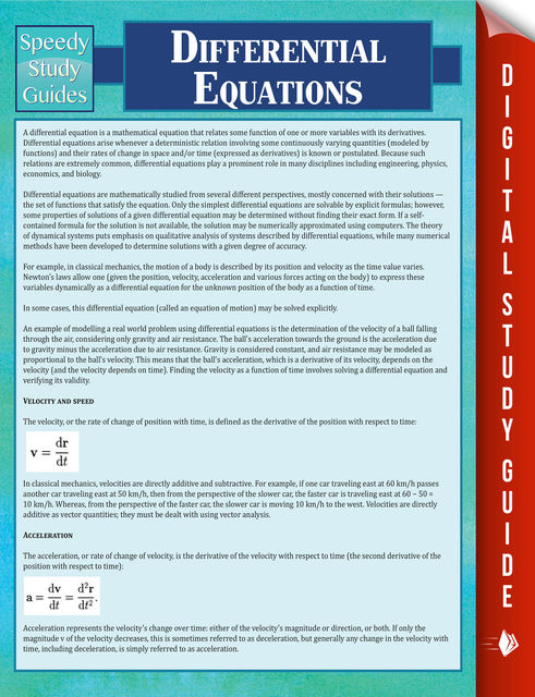 Differential Equations, Speedy Publishing