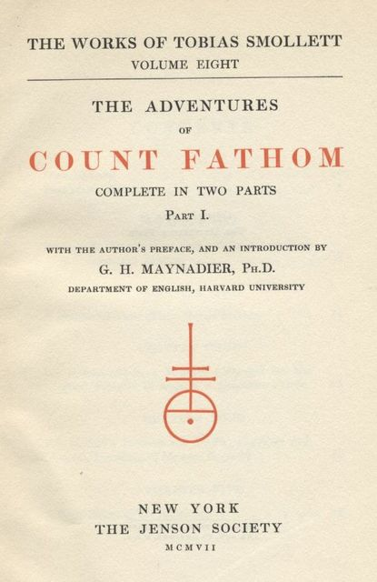 The Adventures of Ferdinand Count Fathom, Tobias Smollett