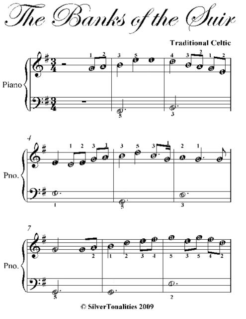 The Banks of the Suir Easy Piano Sheet Music, Traditional Celtic