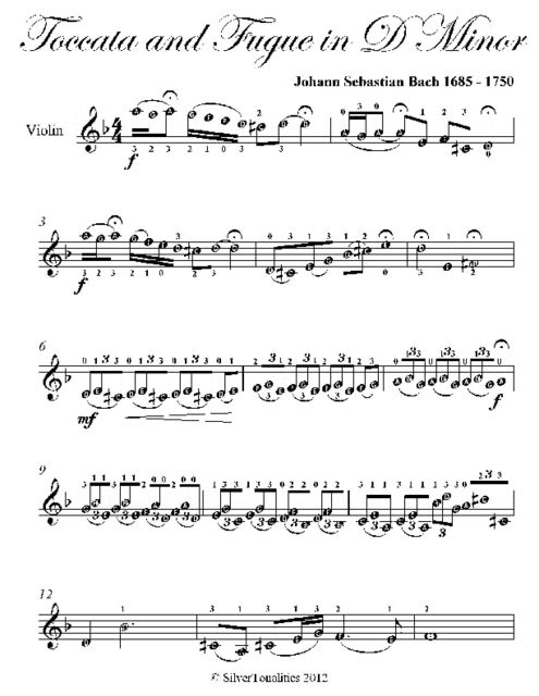 Toccata and Fugue In D Minor Easy Violin Sheet Music, Johann Sebastian Bach