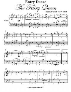 Entry Dance the Fairy Queen Easy Piano Sheet Music, Henry Purcell
