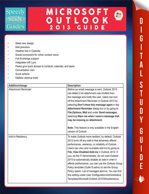 Microsoft Outlook 2013 Guide (Speedy Study Guides), Speedy Publishing
