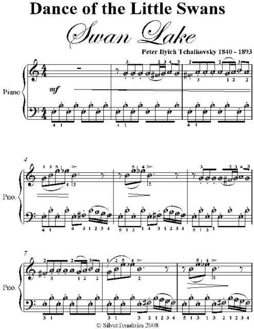 Dance of the Little Swans Swan Lake Easy Piano Sheet Music, Peter Ilyich Tchaikovsky