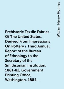 Prehistoric Textile Fabrics Of The United States, Derived From Impressions On Pottery / Third Annual Report of the Bureau of Ethnology to the Secretary of the Smithsonian Institution, 1881-82, Government Printing Office, Washington, 1884, pages 393-425, William Henry Holmes