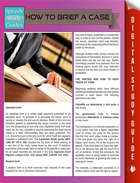 How To Brief A Case (Speedy Study Guides), Speedy Publishing