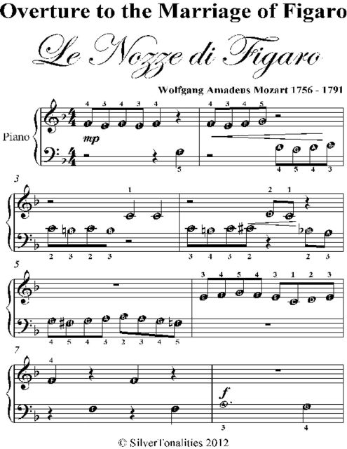 Overture to the Marriage of Figaro Beginner Piano Sheet Music, Wolfgang Amadeus Mozart